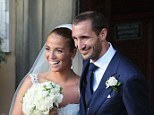 Happy: Chiellini gets married in his home country ahead of the new Serie A season in Italy