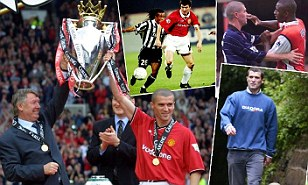 Good and bad: Keane lifting trophies, driving on against Juve, squaring up to Vieira and walking the dog