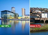 Winners and losers: Salford house prices have grown by 12% in six months, while Wadebridge in Cornwall has seen values drop by more than £7k