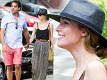 Summer lovers! Makeup free Rose Byrne wears stylish maxi skirt and fedora for New York lunch date with Boardwalk Empire star boyfriend Bobby Cannavale