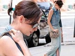 Beauty in blue: Anne Hathaway wore an all-blue ensemble on Tuesday outside a hotel in New York City