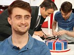 Happy birthday: Daniel Radcliffe appeared on eTa;l on Tuesday to promote his new film and celebrated his 25th birthday a day early with cake