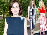 Michelle Dockery highlights her slender frame in patterned dress as she attends Downton Abbey photocall with co-stars Laura Carmichael and Joanne Froggatt