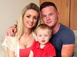Tamsin, pictured with boyfriend Joe and son Finley, first became anxious about her flat chest when she gave birth in April 2012
