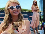 'It wasn't my fault!' Paris Hilton is pretty as a peach with pet chihuahua ... as she admits her infamous sex tape was 'devastating'