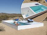 It's not a mirage! Secret swimming pool hidden in the Mojave Desert ... but travellers need to crack GPS coordinates to find it