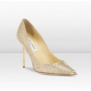 Jimmy Choo Abel Gold Glitter Fabric Pointy Toe Pumps