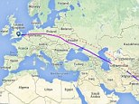 Flight history: A map taken from Flightradar24.com that charts the path of the Virgin Atlantic flight, which was just 140 miles away from MH17 when it was shot down