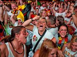 World champions: Germany fans were in a frenzy when the European team finally clinched the final against Brazil