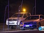 The scene: The car on the right was driven through fencing at Brisbane airport and on to the runway