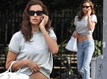 No beach needed! Irina Shayk finds a way to show off her enviable stomach without a bikini