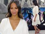 'Pregnant' Zoe Saldana shows a hint of her baby bump in low-cut cream dress as she promotes Guardians Of The Galaxy