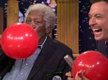 Morgan Freeman's voice hits a HIGH-larious pitch as he sucks on helium-filled balloon with Jimmy Fallon
