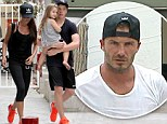 Great minds! Victoria Beckham and son Brooklyn sport matching fluorescent trainers as they leave spin class with David and Harper