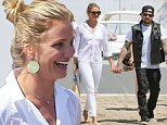 All good things must end! Cameron Diaz is delightful in white as she and beau Benji Madden farewell luxury cruiser on French Riviera