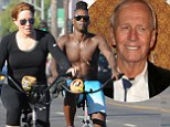 Out for a spin! Linda Kozlowski spotted on beach-side bike ride with shirtless male as her divorce from Paul Hogan is finalised