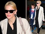 Elegant as always! Cate Blanchett manages to look radiant even at the airport as she rocks cream trenchcoat and tasseled flats disembarking from flight with her son