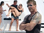 Sylvester Stallone, his wife Jennifer Flavin and three daughters Sistine, Sophia, and Scarlet, appeared to be having a blast together on board their yacht in the South of France.    The action star will be heading to Manchester later next week to appear at the Phones4u Arena for 'An Evening with Sylvester Stallone'.    Non Exclusive  UK RIGHTS ONLY    Pictures by : FameFlynet UK    2014  Tel : +44 (0)20 3551 5049  Email : info@fameflynet.uk.com