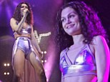 Curly wurly! Jessie J debuts frizzy new hairstyle as she performs in daring gold bralet and hot-pants in Wales