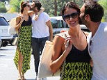 Alessandra Ambrosio, 33, and her fiance of six years Jamie Mazur, enjoy a PDA-filled stroll at the Brentwood Country Mart after breakfast on Friday