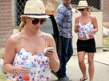 Looking good! Britney Spears showed off her sculpted physique in a crop top and shorts, as she enjoyed lunch in Thousand Oaks, California with her beau David Lucado