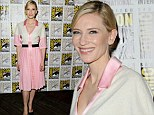 Lady of light! Cate Blanchett looks effortlessly elegant as she steps out in a simple pink and white dress during her appearance at Comic-Con