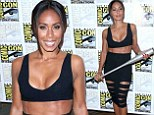 Ab-solutely stunning: Jada Pinkett Smith showed off her taut tummy as she attended the Gotham press line during Comic-Con International 2014 at Hilton Bayfront in San Diego, California on Saturday