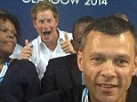 Cheeky: Prince Harry (back) photobombed Massey University Professor Emeritus Gary Hermansson, New Zealand rugby sevens coach Sir Gordon Tietjens and Sport Manawatu chief executive Trevor Shailer in Glasgow at the Commonwealth Games