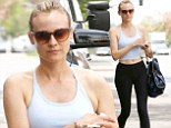Keeping fit: Diane Kruger displayed her lithe frame on Monday as she left a pilates studio in West Hollywood, California