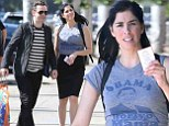 The other man in her life! Sarah Silverman steps out in an 'Obama for yo Mama' T-shirt on a shopping date with boyfriend Michael Sheen