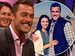 Something to tell us? Hunky farmer Chris Soules can't stop blushing at mention of the next Bachelor on Bachelorette finale
