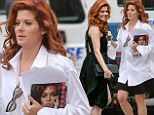 What a difference! Leggy Debra Messing looks sexy in little black dress after arriving on set of The Mysteries Of Laura in dowdy ensemble