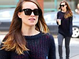 That didn't take long! Olivia Wilde drowns her VERY slim figure a baggy sweatshirt just three months after giving birth