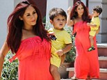 Hello sunshine! Pregnant bride-to-be Snooki glows in an orange maxi dress as she steps out with son Lorezno in New Jersey