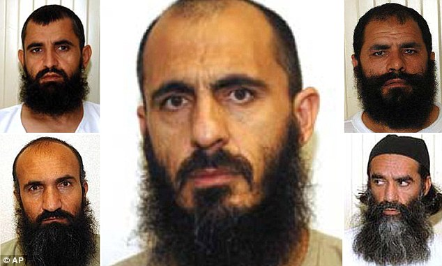 Taliban Dream Team: Abdul Waq-Hasiq, top left and suspected war criminal Mohammad Fazi, top right, Khirullah Khairkhwa, bottom left, and Mohammed Nabi, center, and Norullah Nori, bottom right, were released under the deal brokered with the Taliban and the Qataris