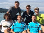 Team picture: John Terry takes a boat trip with the likes of Gary Cahill and Marco van Ginkel