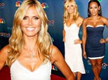 Cleavage-clad: Mel B, left, and Heidi Klum, right, showed off their assets in plunging dresses as they arrived at America's Got Talent in New York City Wednesday