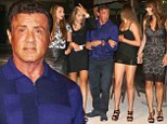 Sylvester Stallone takes his real-life leading ladies for an after-dinner stroll in St. Tropez