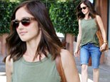 Simple style: Minka Kelly left a salon in Los Angeles on Tuesday after receiving a foot massage