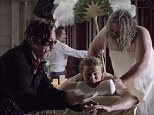 Living the life! The Sons Of Anarchy star got pampered by his co-stars during the clip