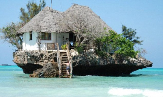 Floating oasis: The Rock, Zanzibar in Tanzania gives the look of the ideal postcard, and is certainly right out of the ordinary