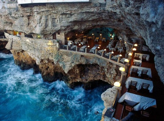 Cave culture: The Grotto Palazzese restaurant is embedded into the cliffs of Polignano, 30 kilometres from Bari in Italy