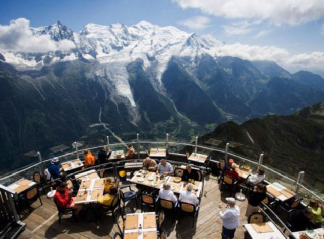Snow pretty: A beautiful mountain chalet in Chamonix, France, Le Panoramic has to be one of the best places to bask in the view of Mont-Blanc. Situated on the summit of Brévent and easily accessible even for pedestrians using a gondola and cable car, the restaurant is taking advance bookings right around now