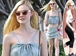 Summer chic and sporty: Elle Fanning stepped out in a cute two-piece set to go shopping in Studio City, left, after showing her athletic side, right, after leaving dance class