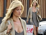 Blonde Ali Larter bares her cleavage in VERY low-cut nude-toned dress after pampering session at the hair salon