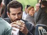 It's a really meaty role! Bradley Cooper chows down on sandwich while shooting new culinary film... as co-star Uma Thurman joins him on London set for the first time