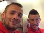 Say cheese: Arsenal's Mathieu Debuchy (left) posted a selfie with Laurent Koscielny (right)