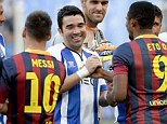 Pals: Samuel Eto'o and Deco greet each other during the pre match pleasantries at the Estadio de Dragao stadium in Porto ahead of the testimonial