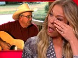 Touching moment: LeAnn Rimes wiped away tears on Wednesday during an appearance on The Talk after watching a clip of her father singing