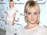 Jena Malone dazzles down to her 'skivvies' in a sheer white dress at For Love And Lemons lingerie party